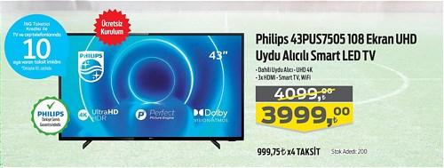 Philips 43PUS7505 108 Ekran UHD Uydu Alıcılı Smart Led Tv image