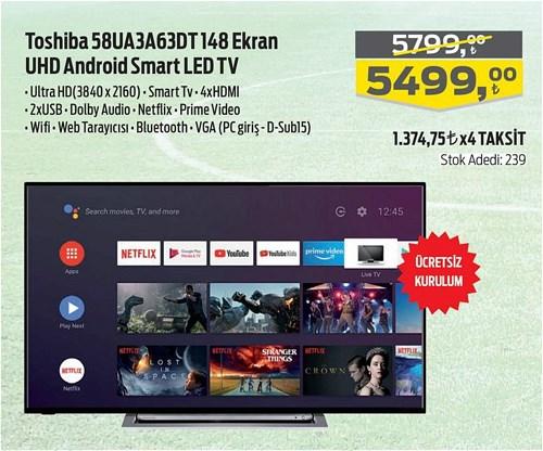 Toshiba 58UA3A63DT 148 Ekran UHD Android Smart Led Tv image