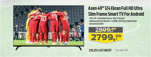 "Axen 49"" 124 Ekran Full HD Ultra Slim Frame Smart Tv For Android image"