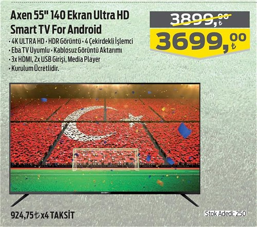 """Axen 55"""" 140 Ekran Ultra HD Smart Tv For Android image"""