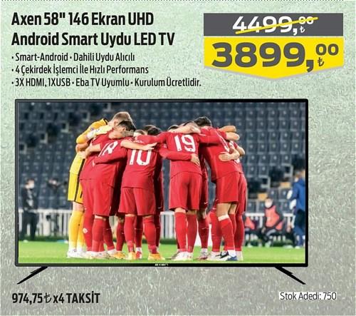 "Axen 58"" 146 Ekran UHD Android Smart Uydu Led Tv image"
