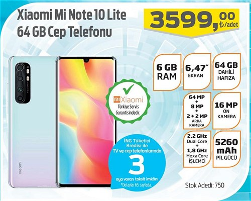 Xiaomi Mi Note 10 Lite 64 GB Cep Telefonu image
