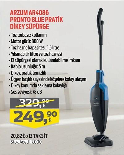 Arzum AR4086 Pronto Blue Pratik Dikey Süpürge 800 W image