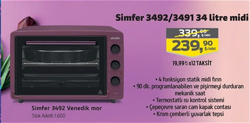 Simfer 3492 Venedik Mor 34 litre Midi Fırın image