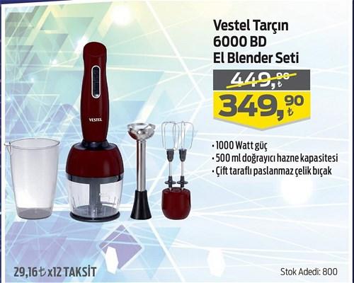 Vestel Tarçın 6000 BD El Blender Seti 1000 W image