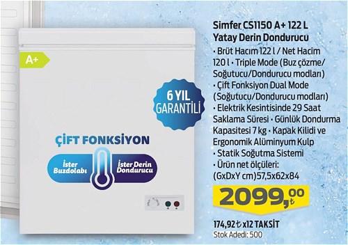 Simfer CS1150 A+ 122 l Yatay Derin Dondurucu image