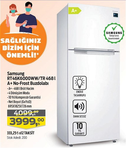 Samsung RT46K6000WW/TR 468 l A+ No-Frost Buzdolabı image