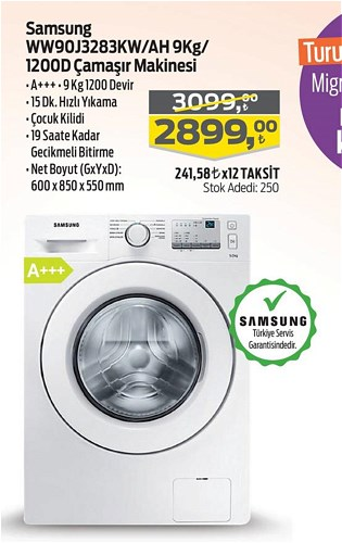 Samsung WW90J3283KW/AH 9 Kg/1200D Çamaşır Makinesi image