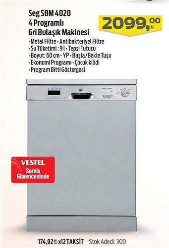 Seg SBM 4020 4 Programlı Gri Bulaşık Makinesi image