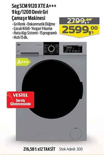 Seg SCM 9120 XTE A+++ 9 kg/1200 Devir Gri Çamaşır Makinesi image