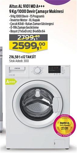 Altus AL 9101 MD A++ 9 Kg/1000 Devir Çamaşır Makinesi image