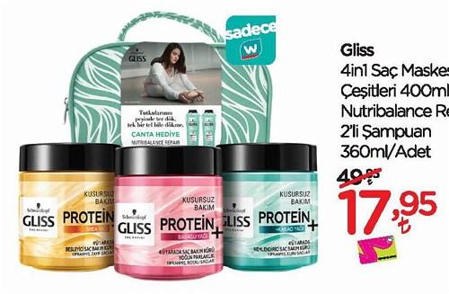 Gliss 4in1 Saç maskesi Çeşitleri 400 ml & Nutribalance Repair 2'li Şampuan 3 image