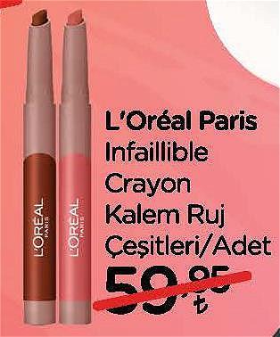 Loreal Paris Infaillible Crayon Kalem Ruj Çeşitleri/Adet image