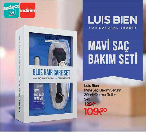 Luis Bien Mavi Saç Bakım Serum 30 ml+Derma Roller Set image