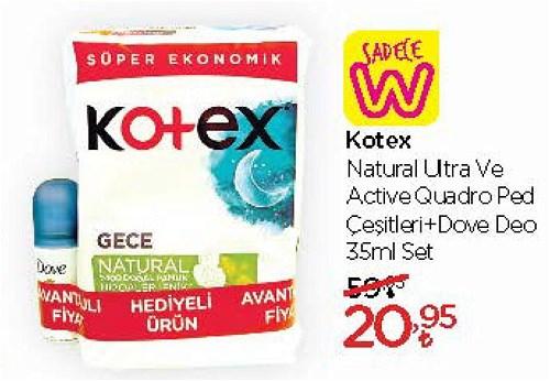 Kotex Natural ve Active Quadro Ped Çeşitleri+Dove Deo 35 ml Set image