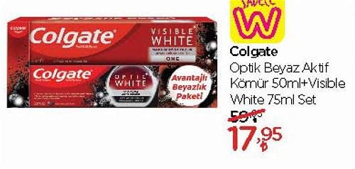 Colgate Optik Beyaz Aktif Kömür 50 ml+Visible White 75 ml Set image