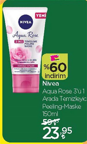 Nivea Aqua Rose 3'ü 1 Arada Temizleyici Peeling-Maske 150 ml image
