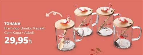 Tohana Flamingo Bambu Kapaklı Cam Kupa image