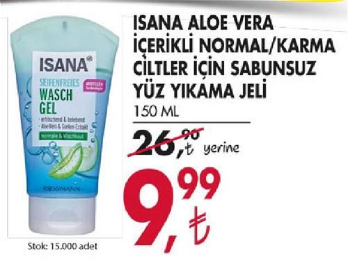 Isana Aloe Vera İçerikli Normal/Karma Ciltler İçin Sabunsuz Yüz Yıkama Jeli image