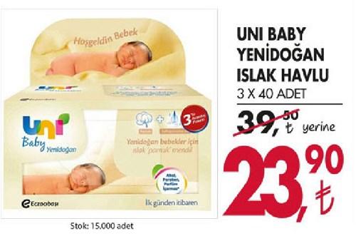 Uni Baby Yenidoğan Islak Havlu 3x40 Adet image