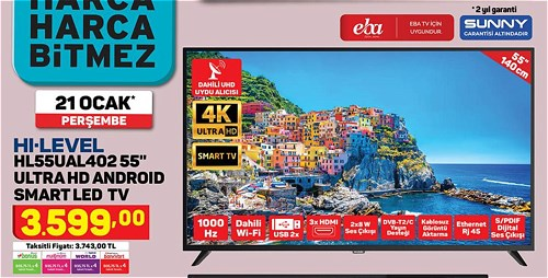 "Hi-Level HL55UAL402 55"" Ultra Hd Android Smart Led Tv image"