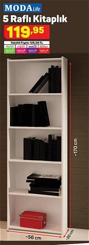 Modalife 5 Raflı Kitaplık 56x20x170 cm image