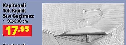 Kapitoneli Tek Kişilik Sıvı Geçirmez 90x200 cm image