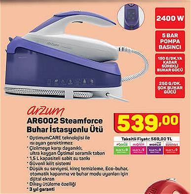 Arzum AR6002 Steamforce Buhar İstasyonlu Ütü 2400 W image