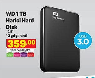 Wd 1 TB Harici Hard Disk image