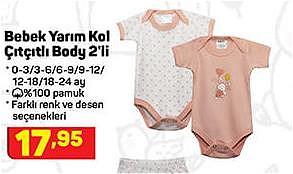 Bebek Yarım Kol Çıtçıtlı Body 2'li image