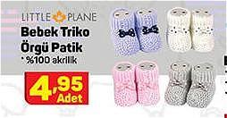 Little Plane Bebek Triko Örgü Patik image