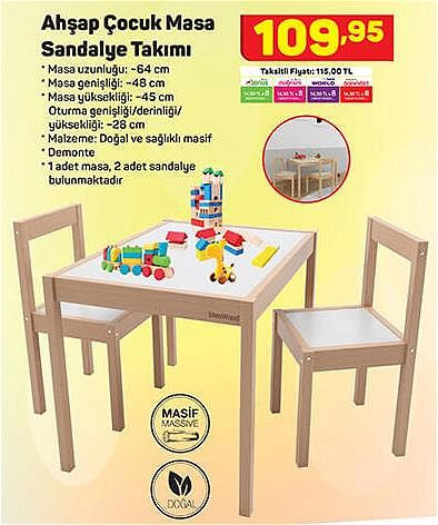 Ahşap Çocuk Masa Sandalye Takımı image