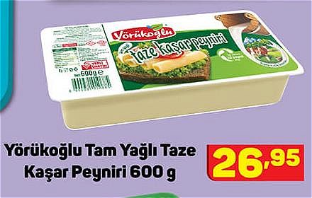 Yörükoğlu Tam Yağlı Taze Kaşar Peyniri 600 g image