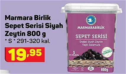 Marmara Birlik Sepet Serisi Siyah Zeytin 800 g S 291-320 kal. image