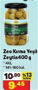 Zeo Kırma Yeşil Zeytin 400 g 4XL 141-160 kal. image