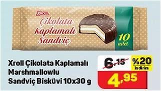 Xroll Çikolata Kaplamalı Marshmallowlu Sandviç Bisküvi 10x30 g image
