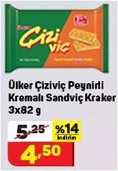 Ülker Çiziviç Peynirli Kremalı Sandviç Kraker 3x82 g image