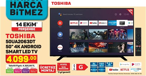 Toshiba 50UA2063DT 50'' 4K Android Smart Led Tv image