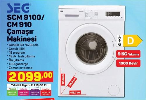 Seg SCM 9100/CM 910 Çamaşır Makinesi 9 Kg image