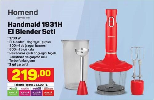 Homend Handmaid 1931H El Blender Seti 1700 W image