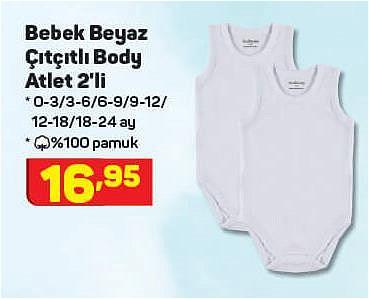 Bebek Beyaz Çıtçıtlı Body Atlet 2'li image