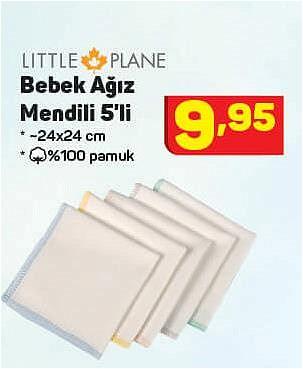 Little Plane Bebek Ağız Mendili 5'li 24x24 cm image