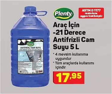 Plenty Araç İçin -21 Derece Antifrizli Cam Suyu 5 L image