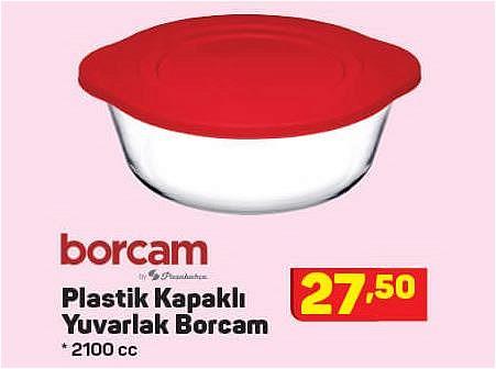 Paşabahçe Borcam Plastik Kapaklı Yuvarlak Borcam 2100 cc image