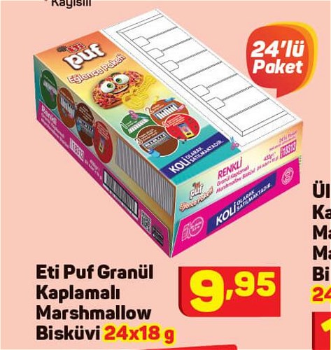 Eti Puf Granül Kaplamalı Marshmallow Bisküvi 24x18 g image
