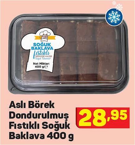 Aslı Börek Dondurulmuş Fıstıklı Soğuk Baklava 400 g image