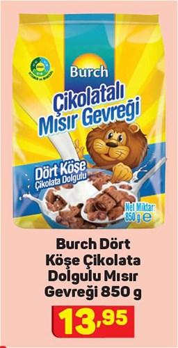 Burch Dört Köşe Çikolata Dolgulu Mısır Gevreği 850 g image