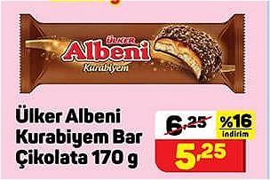 Ülker Albeni Kurabiyem Bar Çikolata 170 g image