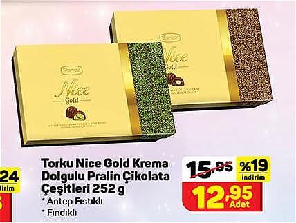 Torku Nice Gold Krema Dolgulu Pralin Çikolata Çeşitleri 252 g image