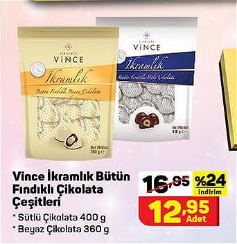 Vince İkramlık Bütün Fındıklı Çikolata Çeşitleri image